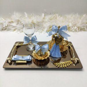 bebek mavisi kare gold damat tepsisi