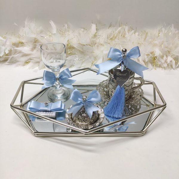 bebek mavisi prizma gümüş damat tepsisi