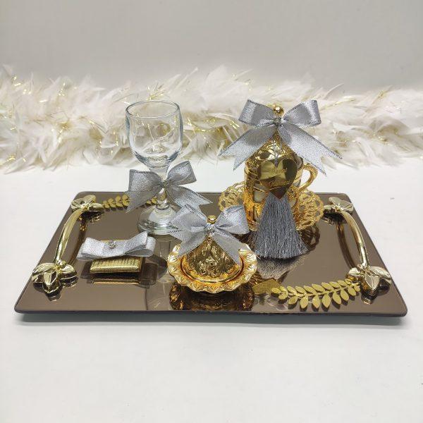 gümüş kare gold damat tepsisi