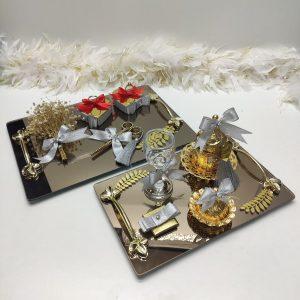 gümüş kare gold nişan tepsisi