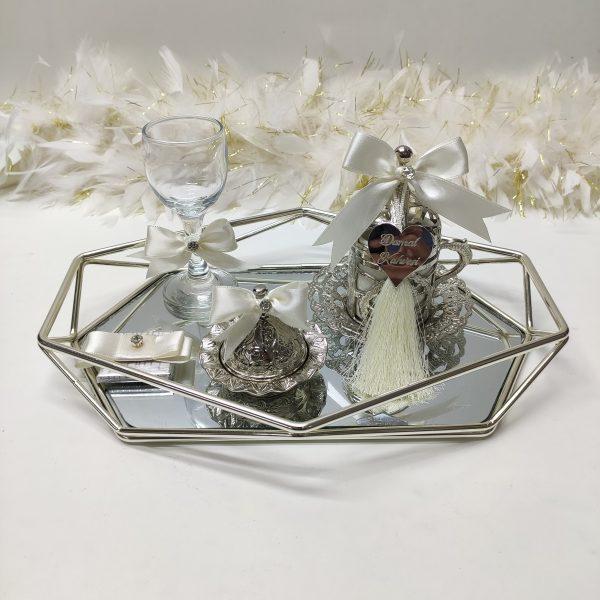 krem prizma gümüş damat tepsisi