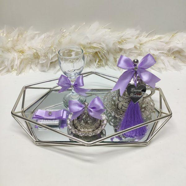 lila prizma gümüş damat tepsisi