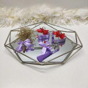 lila prizma gümüş yüzük tepsisi