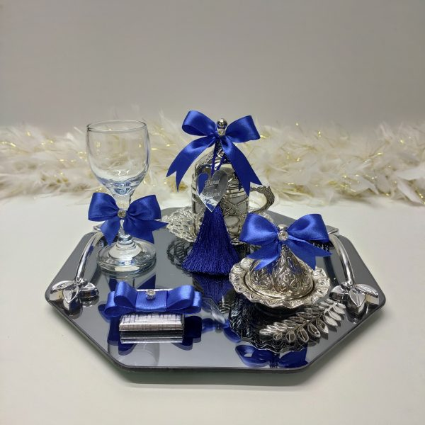 mavi petek gümüş damat tepsisi