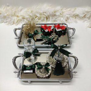 zümrüt yeşili lüx aynalı gümüş kare nişan tepsisi