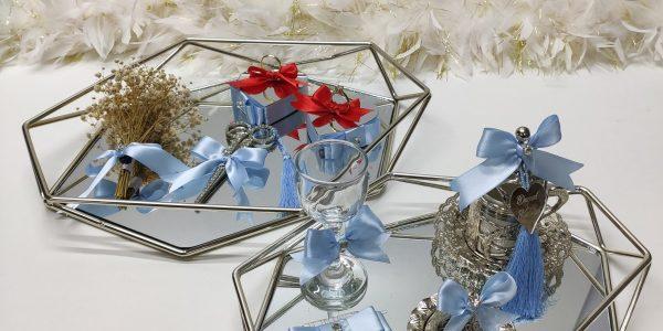 bebek mavisi prizma gümüş nişan tepsisi